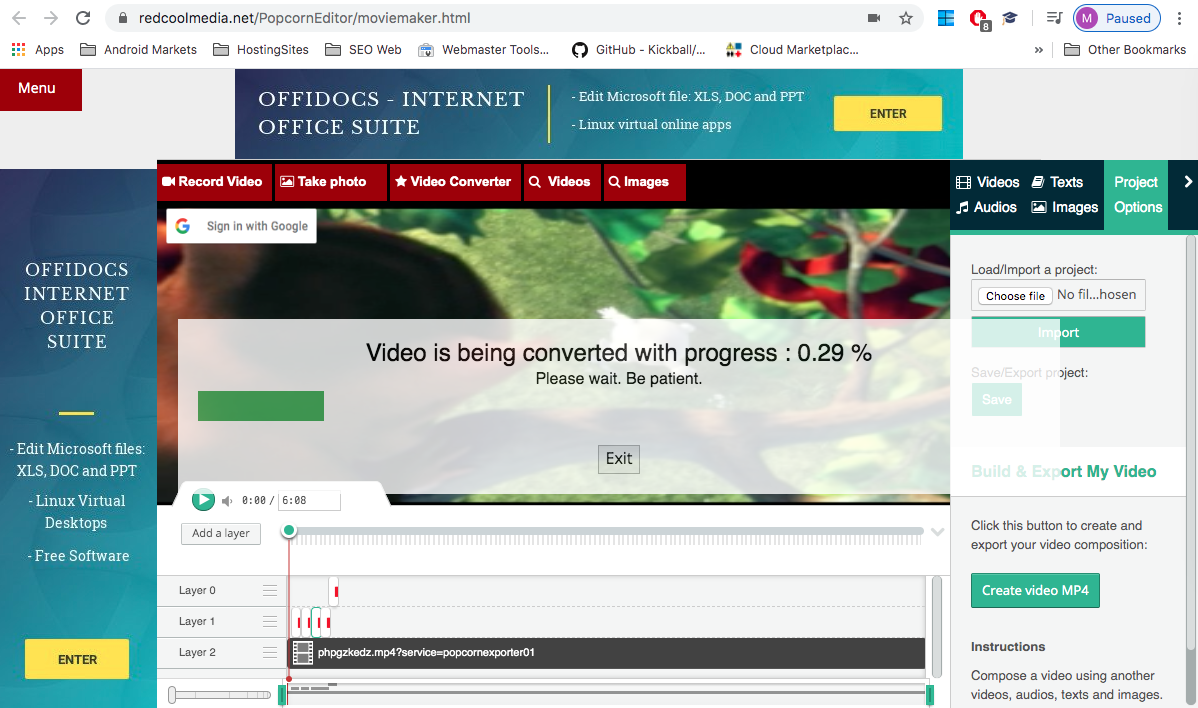 Create video online – merge videos and images