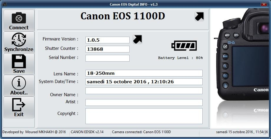 Download web tool or web app Canon EOS DIGITAL Info