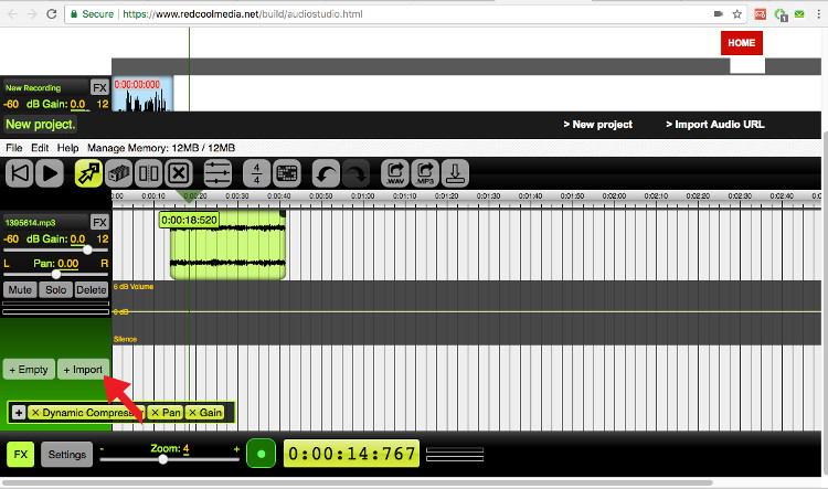 Upload an audio audiostudio online