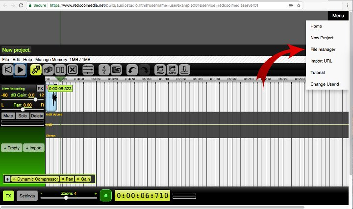File manager AudioStudio online audio editor