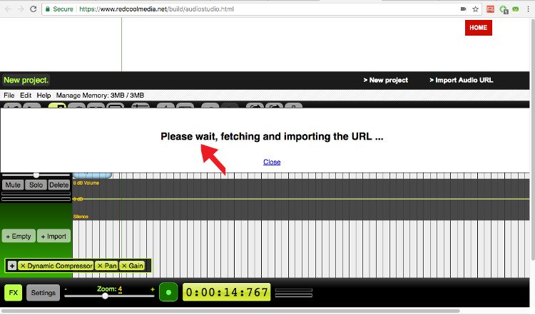 Import an audio URL audiostudio online