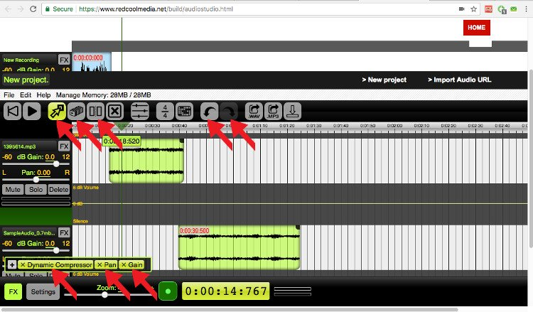 Modify audio file with audiostudio online