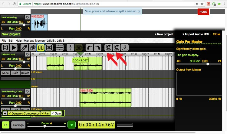Export your audio composition audiostudio online